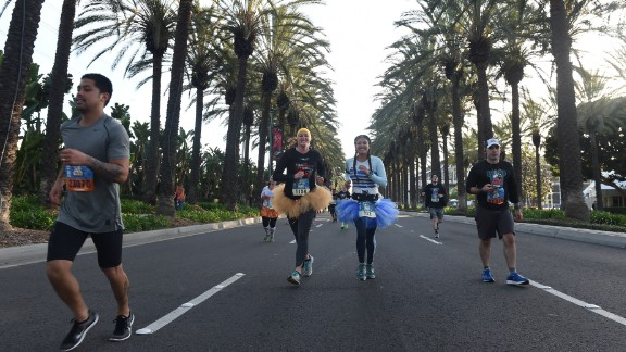 After mile five, the race leaves Disneyland and snakes through the streets of Anaheim, California.