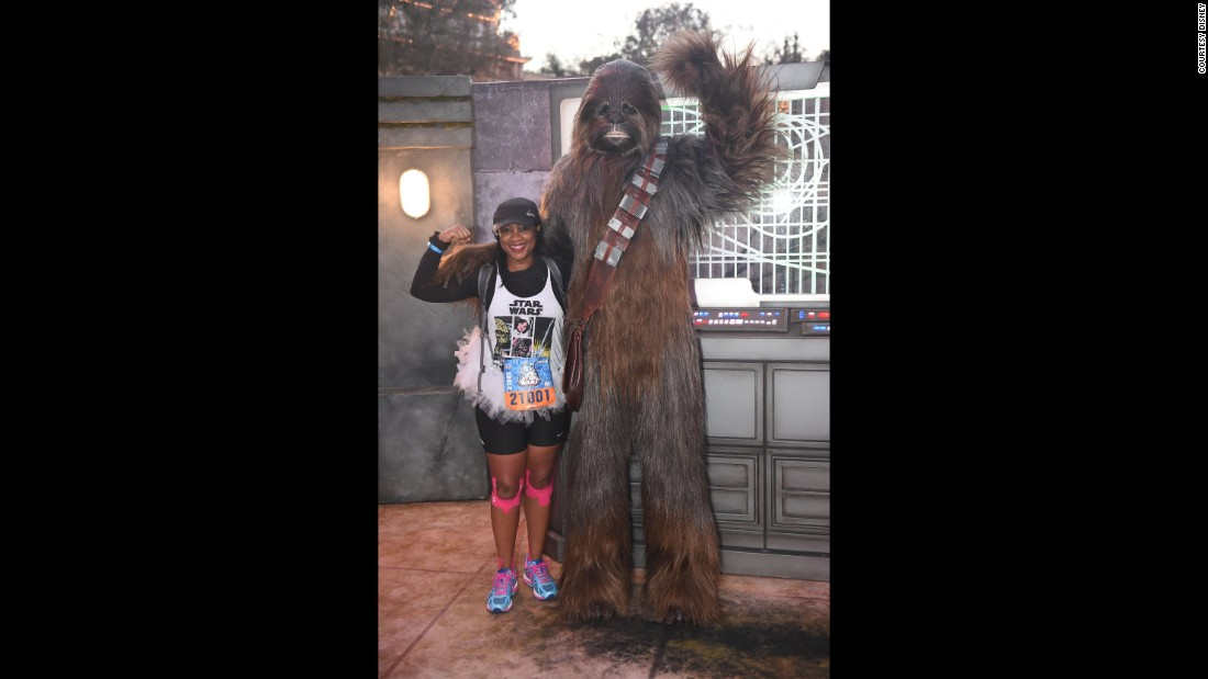 "There are cameos by ""Star Wars"" characters, both official and non-. This is the half-marathon where you get a chance to hug Chewbacca and high-ive Lando Calrissian."