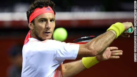 TOKYO, JAPAN - OCTOBER 05:  Juan Monaco of Argentina plays a backhand during the men's singles second round match against James Duckworth of Australia on day three of Rakuten Open 2016 at Ariake Colosseum on October 5, 2016 in Tokyo, Japan.  (Photo by Atsushi Tomura/Getty Images)