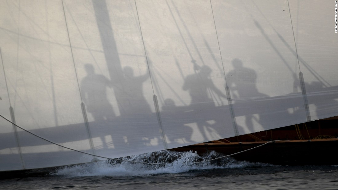 Sailors practice Saturday, May 13, ahead of the Al Gaffal dhow race, which takes place annually off the coast of Dubai in the United Arab Emirates.