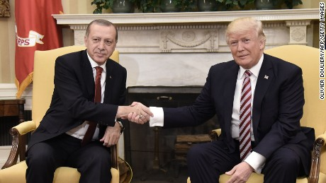 US President Donald Trump shakes hands with Turkish President Recep Tayyip Erdogan during a meeting in the Oval Office of the White House in Washington, DC, on May 16, 2017. / AFP PHOTO / Olivier Douliery        (Photo credit should read OLIVIER DOULIERY/AFP/Getty Images)