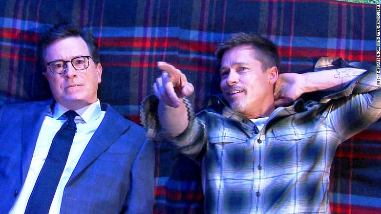 Brad Pitt contemplates life with Colbert