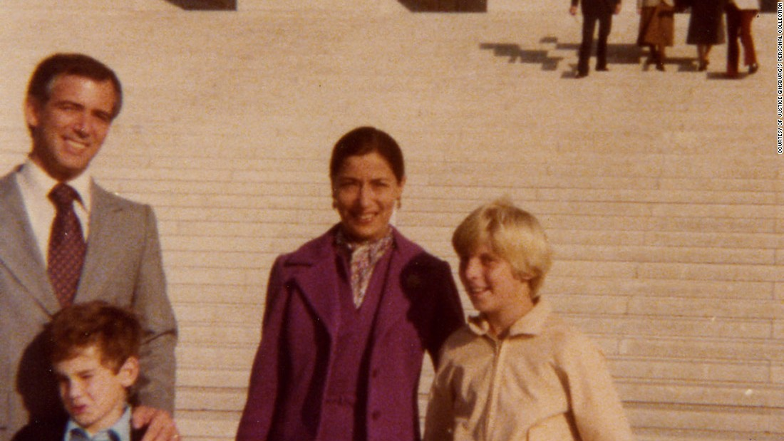 Ginsburg is joined by family members on the steps of the US Supreme Court after arguing a case there in November 1978. With Ginsburg, from left, are her brother-in-law Ed Stiepleman; her nephew David Stiepleman; and her son, James.