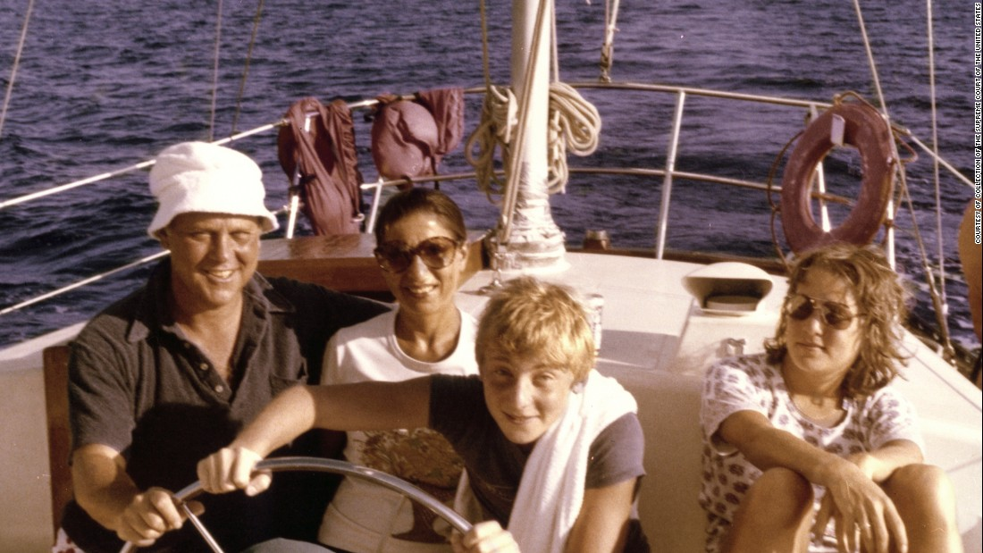 Ginsburg, her husband and their two children -- James and Jane -- pose for a photo off the shore of St. Thomas in 1979.