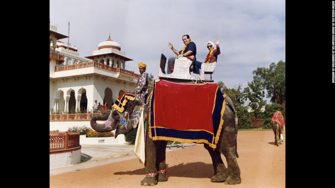 "Scalia and Ginsburg pose on an elephant during their tour of India in 1994. Scalia once said they were an ""odd couple"" and he counted her as his ""best buddy"" on the bench."