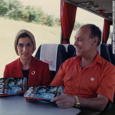 Ruth Bader Ginsburg and Marty Ginsburg travel by bus from Charles de Gaulle airport to downtown Paris, circa 1988.