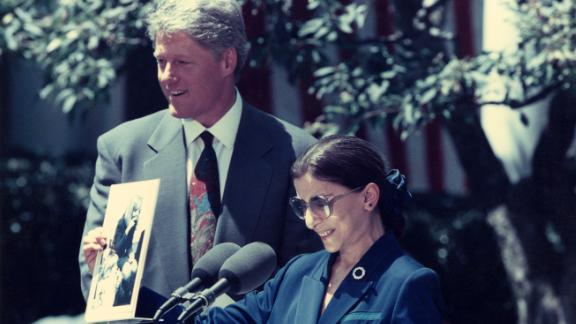 President Clinton and Judge Ginsburg at White House Rose Garden announcement of her nomination to the Supreme Court on June 14,1993.