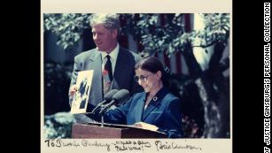 President Clinton and Judge Ginsburg at White House Rose Garden announcement of her nomination to the US  Supreme Court on June 14, 1993.