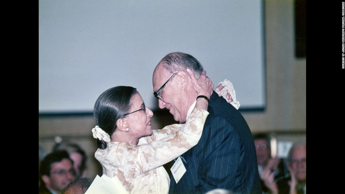Ginsburg and her husband embrace while attending an event. The two were married for nearly 60 years. Martin Ginsburg died in 2010.