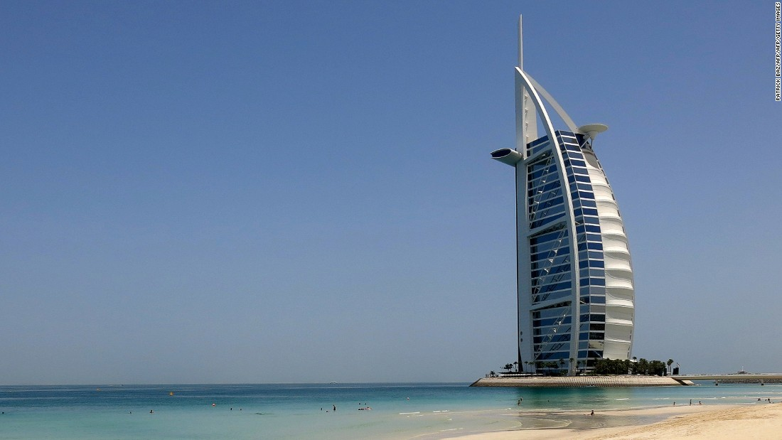The Burj al-Arab is the third tallest hotel in the world and sits on an artificial island 280 m from Jumeirah beach on the mainland. Designed to resemble the sail of the ship, the luxury hotel has become an icon of Dubai.
