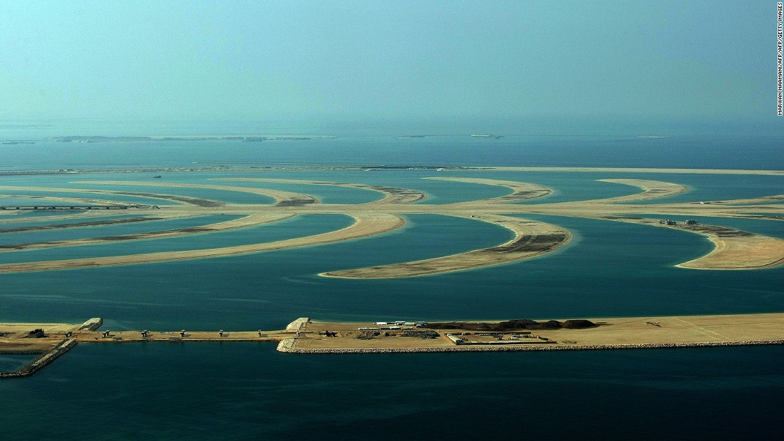 An aerial view shows an unfinished area of the human-made Palm Jebel Ali island built by Nakheel property giant off the coast of the Gulf emirate of Dubai. Following the financial crisis of 2008 the project was put on hold.