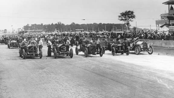 Cars take to the start line for the first ever Indy 500 in 1911. May 28 marks the 101st edition of the event.