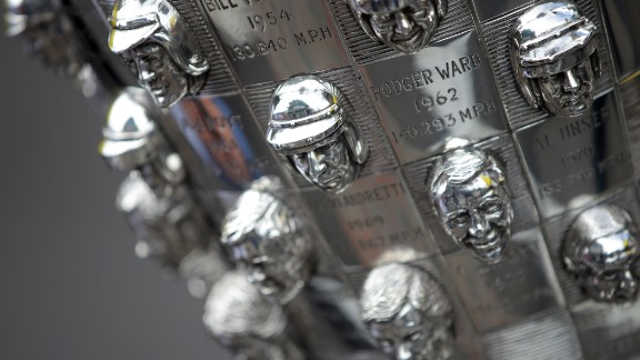 The Borg-Warner trophy is one of the most magnificent and unusual in sport, with a three-dimensional portrait of each winner