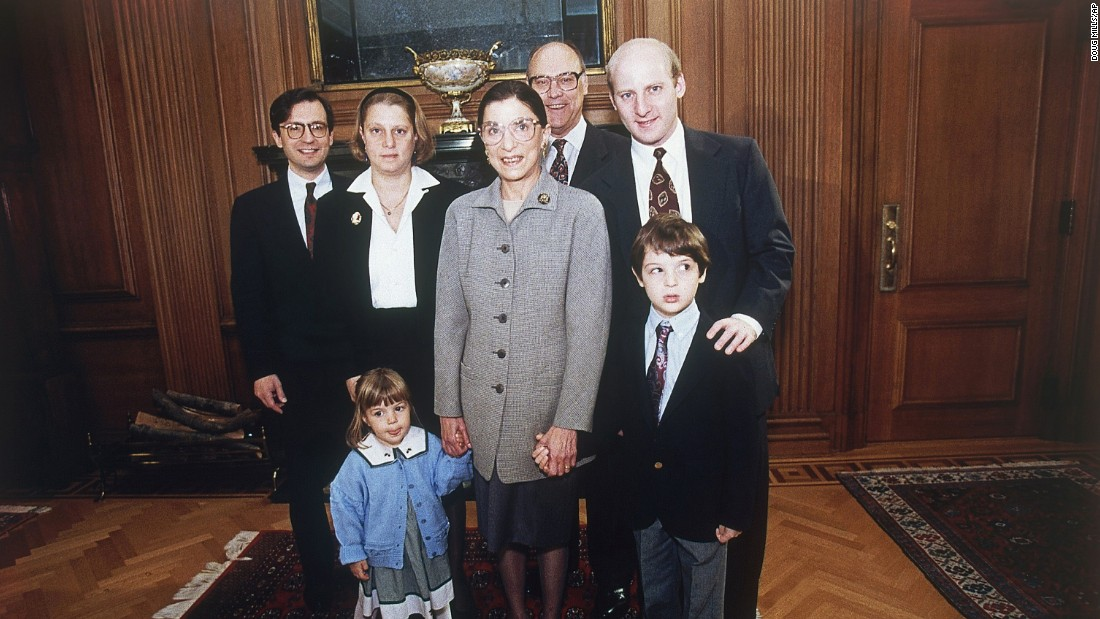 Ginsburg poses with family members at the Supreme Court in October 1993. With Ginsburg, from left, are her son-in-law, George Spera; her daughter, Jane; her granddaughter Clara Spera; her husband, Martin; her son, James; and her grandson Paul Spera.