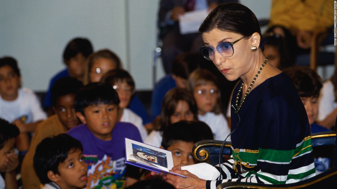 "Ginsburg reads to a group of children at the 10th anniversary of the TV show ""Reading Rainbow"" in 1993."