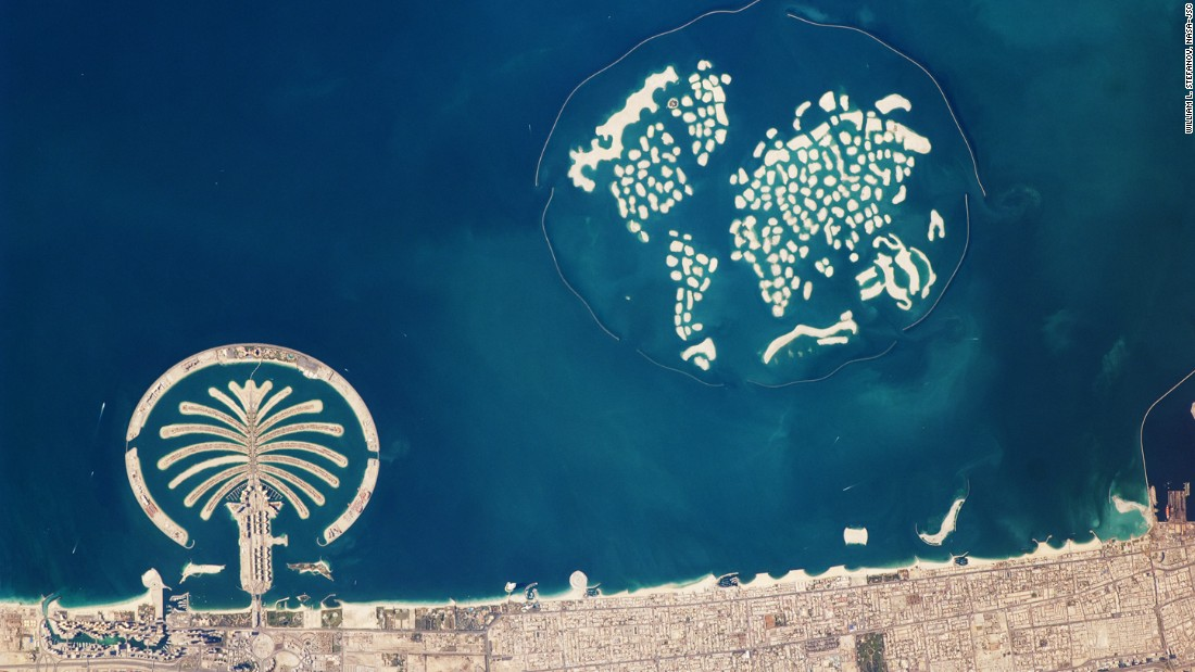Marsa Al Arab will join numerous other man-made structures off the coast of Dubai. This shot, taken from the International Space Station, captures the Palm Jumeirah and the World Islands.