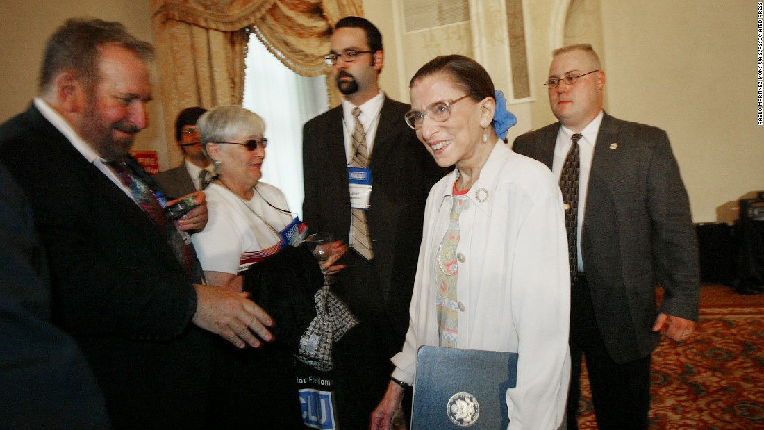 Ginsburg makes her way through a crowd after an address at an ACLU conference in June 2003.