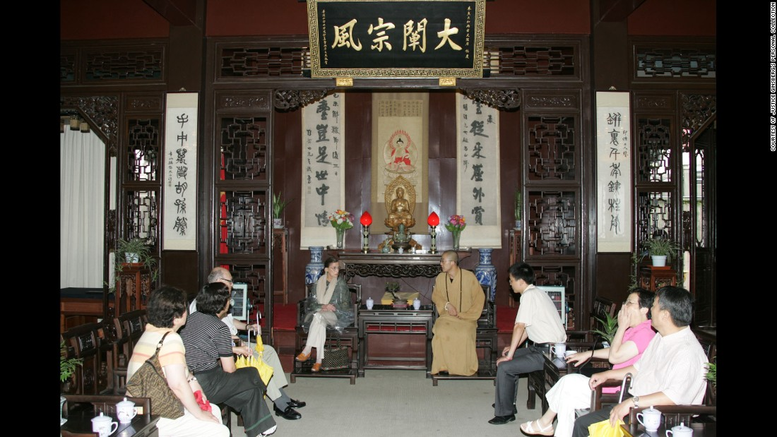 Ginsburg meets with a Buddhist abbot at the Lingyin Temple in Hangzhou, China, in 2005.