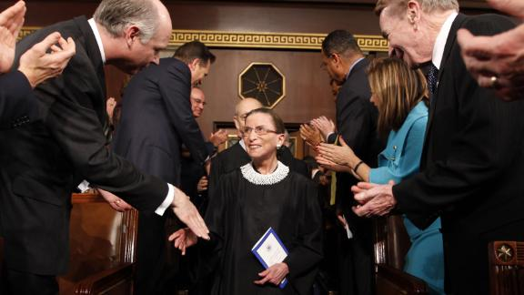 Ginsburg arrives to a joint session of Congress where President Barack Obama was speaking in 2009. That month, Ginsburg had surgery and treatment for early stages of pancreatic cancer. A decade before, she had successful surgery for colon cancer.
