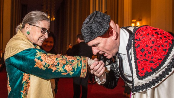 "Ginsburg, with an extra from ""Carmen,"" attends the opera at the Kennedy Center in Washington in October 2015."