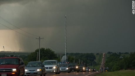 Storm chaser convergence can cause backups for miles near dangerous storm systems.