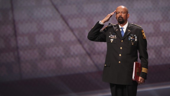 ATLANTA, GA:  David Clarke Jr., sheriff of Milwaukee County, Wisconsin, salutes as he leaves the stage after speaking at the NRA-ILA's Leadership Forum at the 146th NRA Annual Meetings & Exhibits on April 28, 2017 in Atlanta, Georgia. (Scott Olson/Getty Images)