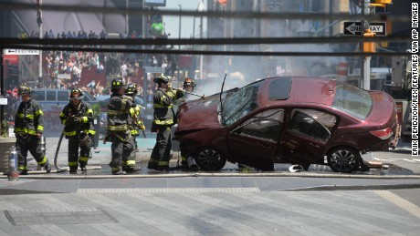 Aftermath of a car being driven into Pedestrians in Times Square Car Driven into Pedestrians in Times Square.