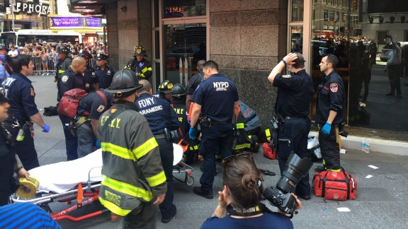 A victim is attended to in this photo tweeted by the New York City Fire Department.