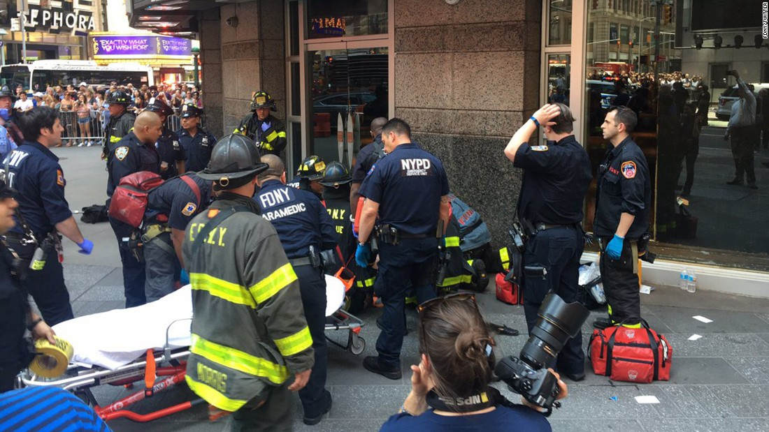 "A victim is attended to in this photo <a href=""https://twitter.com/FDNY/status/865244909602836482"" target=""_blank"">tweeted</a> by the New York City Fire Department."