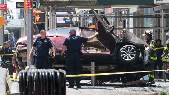 Police work at the scene.