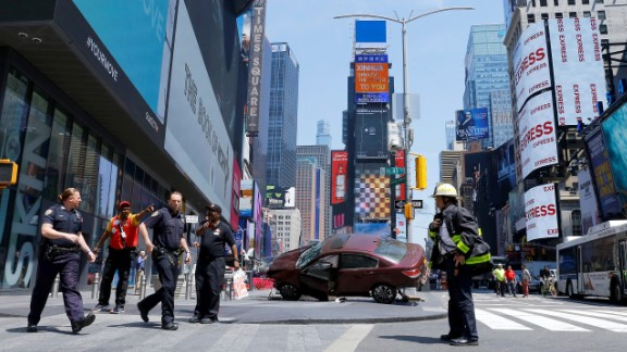 """Before striking pedestrians, the car was """"out of control,"""" an emergency management official said. Witnesses on social media described a speeding car plowing into people before crashing to a halt."""