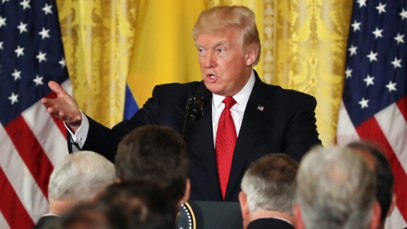 U.S. President Donald Trump delivers remarks during a joint news conference with Colombian President Juan Manuel Santos at the White House May 18, 2017 in Washington, DC.