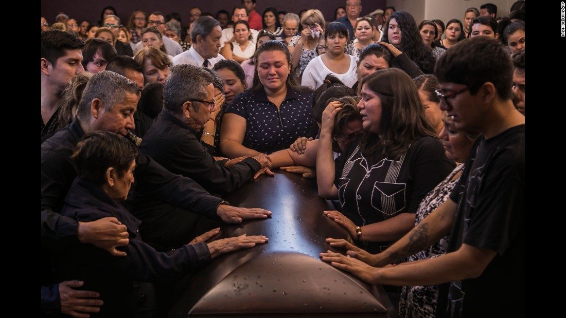 "Friends and relatives say their last goodbyes to <a href=""http://www.cnn.com/2017/05/15/americas/mexican-journalist-javier-valdez-killed-sinaloa/"" target=""_blank"">slain journalist Javier Valdez</a> during his funeral Mass in Culiacan, Mexico, on Tuesday, May 16. Valdez, who reported extensively on drug trafficking, is the fifth journalist to be killed in Mexico this year."