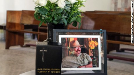 View of the urn with the ashes of the Mexican journalist Javier Valdez during the second day of his funeral in Culiacan, Sinaloa State, Mexico on May 17, 2017. Media and rights groups protested Tuesday to demand the Mexican government catch the killers of the fifth and most high-profile journalist murdered this year in the country's drug-trafficking ganglands. / AFP PHOTO / HECTOR PARRA        (Photo credit should read HECTOR PARRA/AFP/Getty Images)