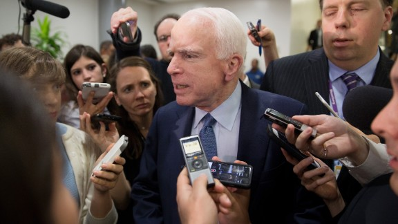 U.S. Sen. John McCain speaks to the media after the closed briefing May 18, 2017 on Capitol Hill in Washington, DC. Rosenstein participated in a closed briefing for senators to discuss the removal of former FBI Director James Comey.
