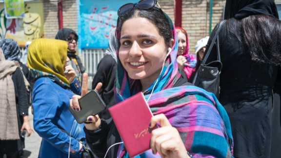 Medical student Yasaman Allahgholy, 22, waits to vote in North Tehran on Friday.