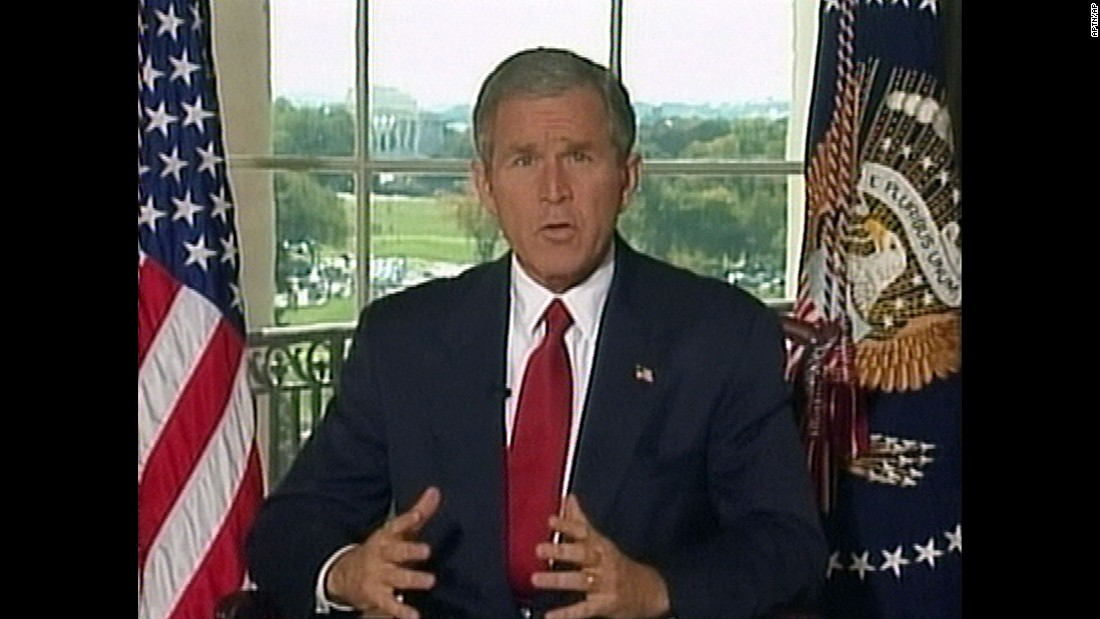 In this image taken from video, US President George W. Bush addresses the nation from the White House on October 7, 2001. He announced that US and British forces had begun airstrikes on Taliban and al Qaeda targets in Afghanistan. The United States linked the Sept. 11 attacks to al Qaeda, a group that operated under the protection of the Taliban regime in Afghanistan. The military operation was launched to stop the Taliban from providing a safe haven to al Qaeda and to stop al Qaeda's use of Afghanistan as a base for terrorist activities.