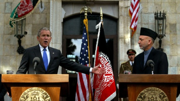 Bush and Karzai attend a news conference in Kabul on March 1, 2006. It was Bush's first visit to Afghanistan.