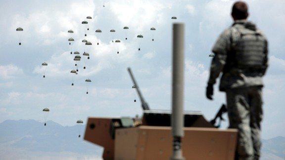 Supplies are dropped to US troops in Ghazni Province on May 29, 2007.