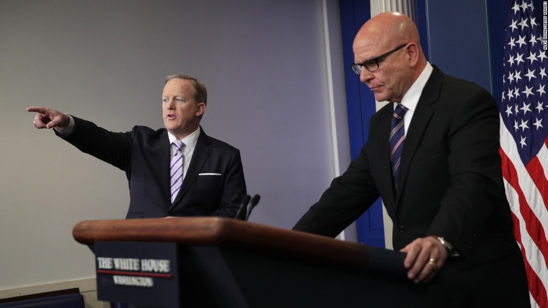 "White House press secretary Sean Spicer points to a reporter as national security adviser H.R. McMaster attends a press briefing in Washington on Tuesday, May 16. <a href=""http://www.cnn.com/2017/05/15/politics/trump-russia-classified-information/index.html"" target=""_blank"">The briefing was held</a> following a Washington Post report that President Trump shared highly classified information with the Russian foreign minister and Russia's ambassador to the United States. McMaster told reporters that ""at no time were intelligence sources or methods discussed, and the President did not disclose any military operations that weren't already publicly known. I was in the room. It didn't happen."""