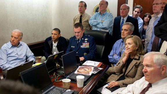 Obama and members of his national security team monitor the mission against Osama bin Laden on May 1, 2011. Bin Laden was killed when Navy SEALs conducted a raid at a compound in Pakistan. (Editor's note: The classified document in front of Hillary Clinton was obscured by the White House.)
