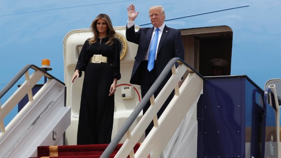 President Donald Trump and first lady Melania Trump arrive at the Royal Terminal of King Khalid International Airport, Saturday, May 20, 2017, in Riyadh. (AP Photo/Evan Vucci)