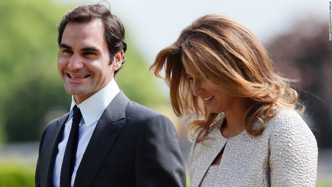 Roger Federer and his wife, Mirka, arrive at the wedding.