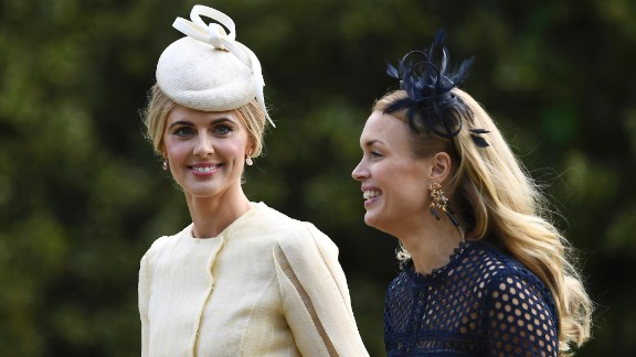 Television personality Donna Air, left, arrives at St. Mark's Church.