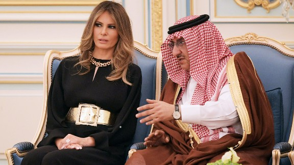 The first lady chats with Saudi Crown Prince Muhammad bin Nayef at the medal ceremony on May 20.