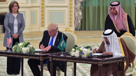Trump and King Salman take part in a signing ceremony at the Saudi Royal Court in Riyadh on May 20. The two leaders oversaw the signing of a defense deal worth nearly $110 billion.