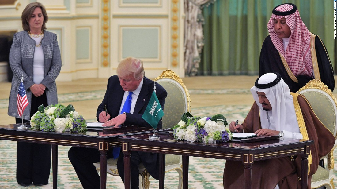 "Trump and King Salman take part in a signing ceremony at the Saudi Royal Court in Riyadh on May 20. The two leaders oversaw <a href=""http://www.cnn.com/2017/05/20/politics/donald-trump-middle-east/"" target=""_blank"">the signing of a defense deal</a> worth nearly $110 billion."
