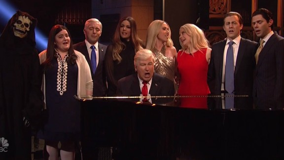 "Alec Baldwin plays Donald Trump in the season finale of ""Saturday Night Live,"" on May 20."