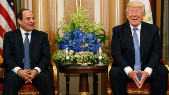 "President Trump and Egyptian President Abdel Fattah el-Sisi share a laugh during a meeting on May 21. El-Sisi complimented Trump on his ""unique personality that is capable of doing the impossible."" Trump exchanged pleasantries back, praising el-Sisi"