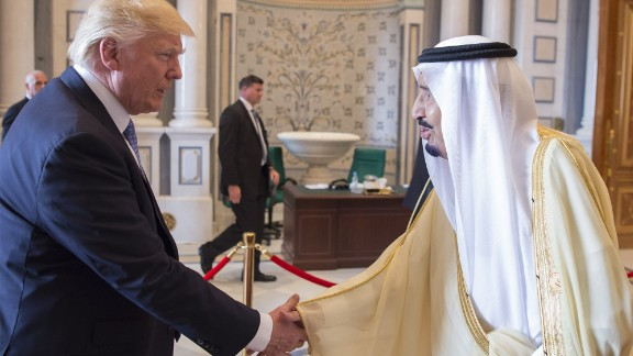 Saudi King Salman shakes hands with Trump on May 21. Trump is the first US president to start his first foreign trip in the Middle East.